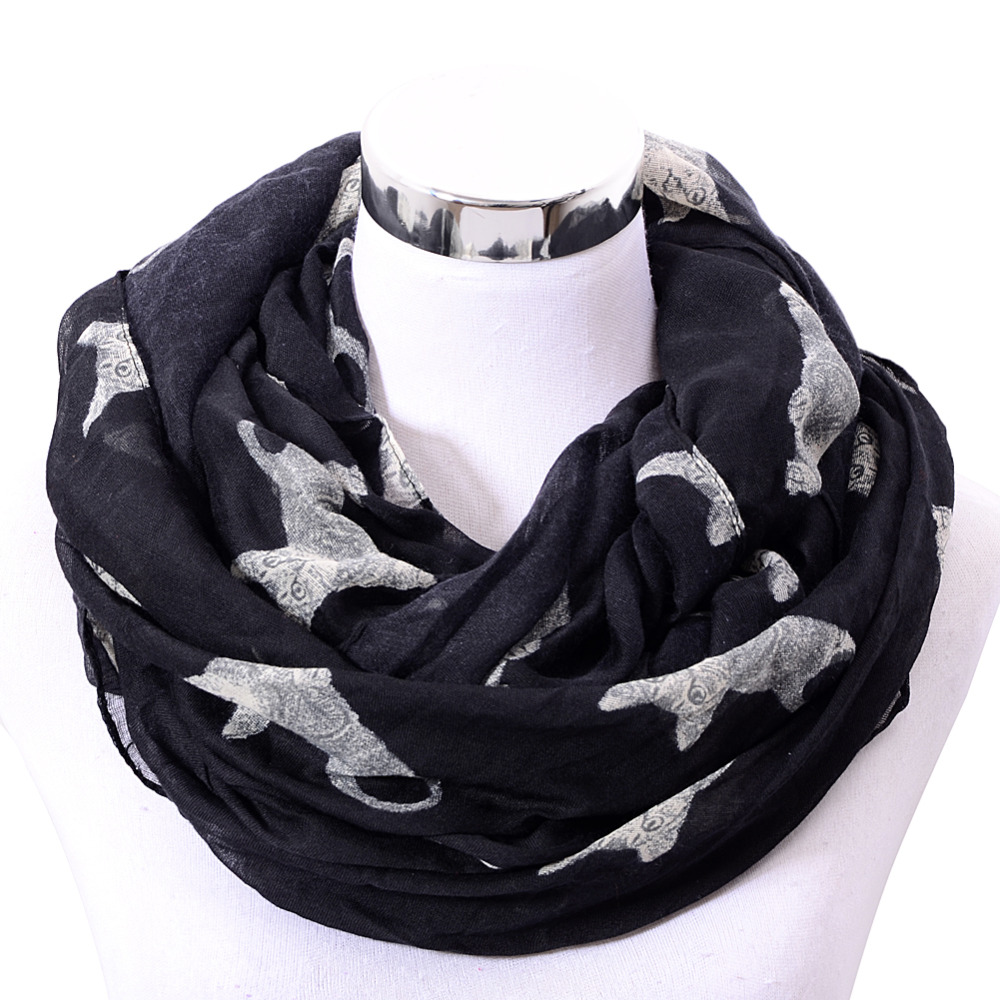 Womens Cute Cat Print Long Scarf Soft Voile Wrap Shawl Stole Neck Warm Scarves(China (Mainland))