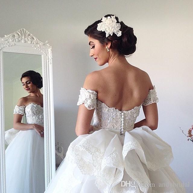 44 Brand New Wedding Dresses That 2017 Brides Need To See: Ivory Organza Ruffle Skirt Mermaid Plus Size Wedding Dress