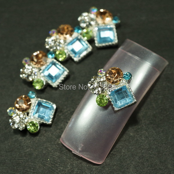 2 10MM Unique Irregular Multi Color Rhinestones Metal Alloy Charms Nail Art Jewelry DIY Design Decorations Accessories - Simple Beauty store