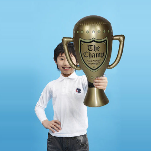 Creative 1Piece Big 60cm PVC Balloon Trophy Champion Inflation Toy Gift For Kids'Birthday Game Toys Perform Prop Decoration Top(China (Mainland))