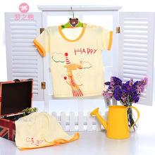 Boys girls Summer Pajamas Sets cartoon Giraffe bamboo fiber short Sleeve Pijamas Cotton bebe Nightwear Clothing Pyjamas(China (Mainland))