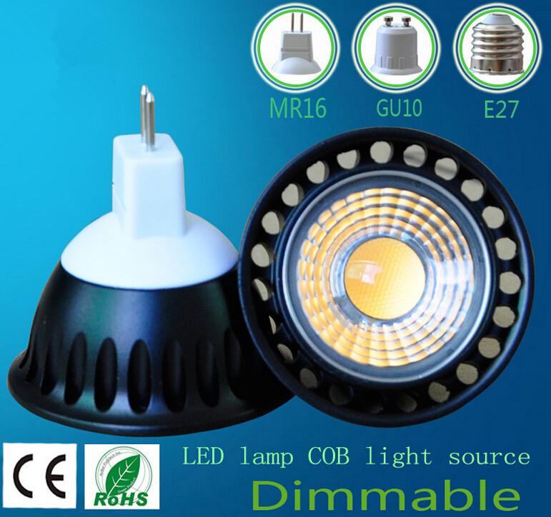 5W COB LED Spotlights lamp cup GU10/E27/MR16 base LED bulbs Downlight 110V- 230V Warm white Cold white Wholesale Free shipping(China (Mainland))
