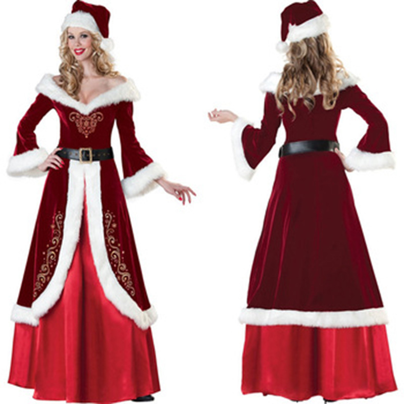 2015wine red luxurious christmas queen dress sexy warm long sleeve