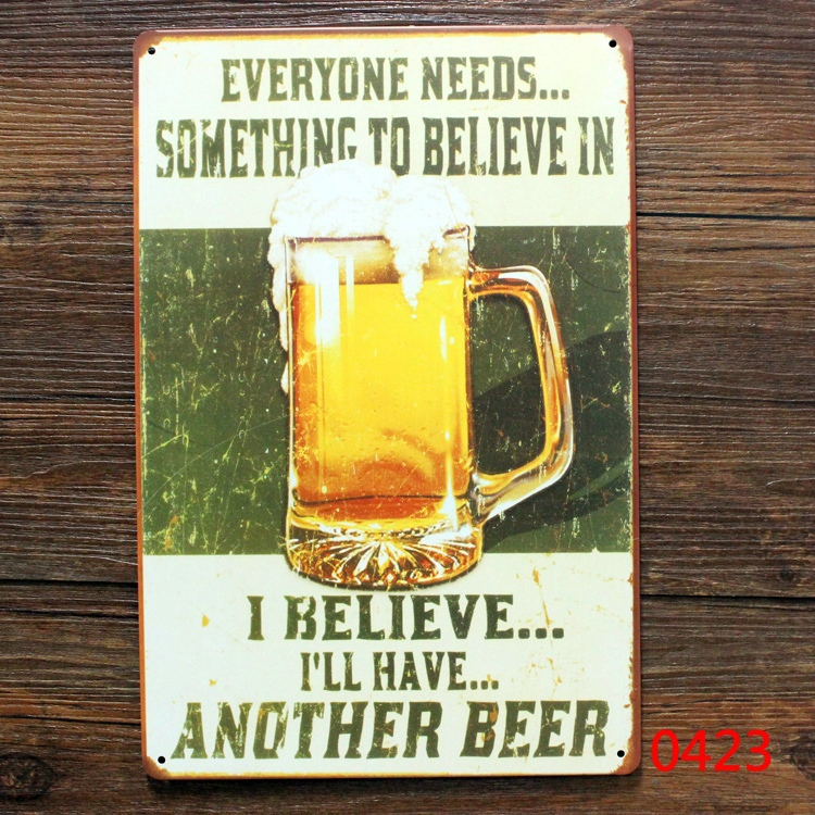 I BELIVE I WILL HAVE ANOTHER BEER TIN SIGN Vintage Wall Decor Pub Bar Metal Decor metal wall tinkerbell wall decals signs(China (Mainland))