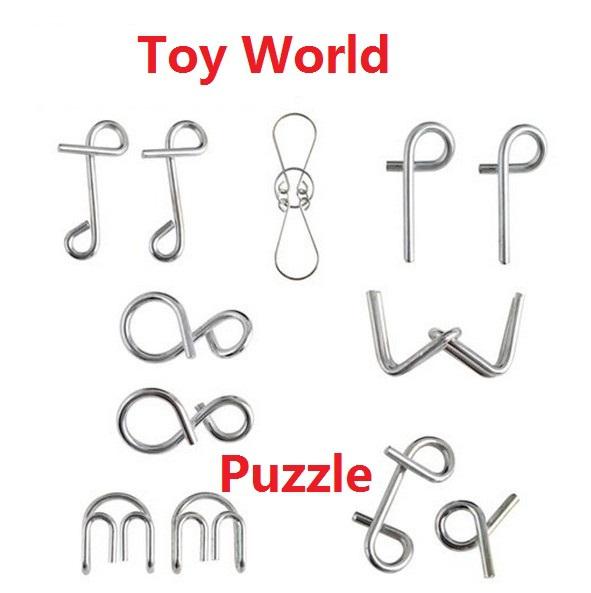 [해외]2014 새해 선물 어린이 1Packs / 많은, 7 세트 금속 링 퍼즐 ..