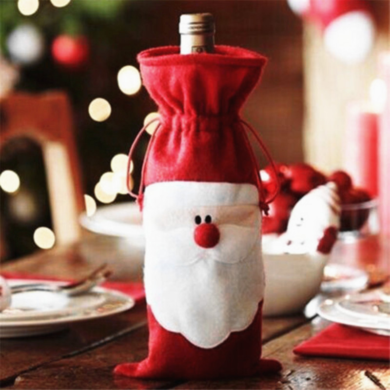 New Brand Red Xmas Santa Claus Christmas Wine Bottle Canvas Cover Christmas Decoration Home Party Decor GM410(China (Mainland))