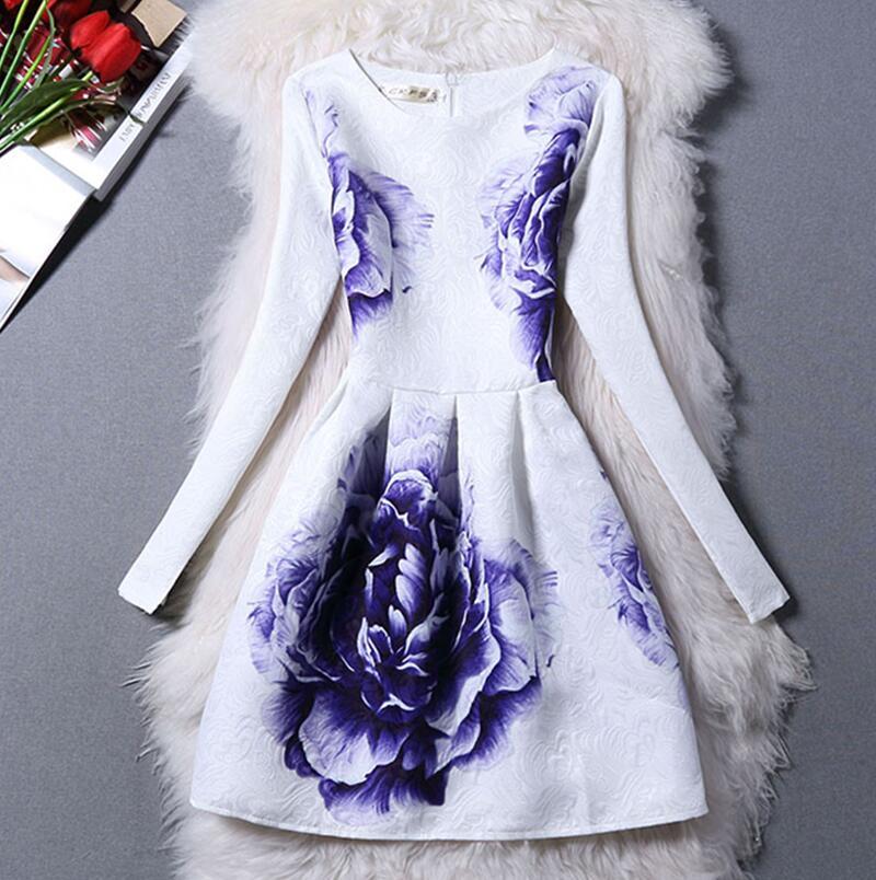 2016 spring fashion young girl dresses slim o-neck long-sleeve print one-piece dress a basic princess dress women(China (Mainland))