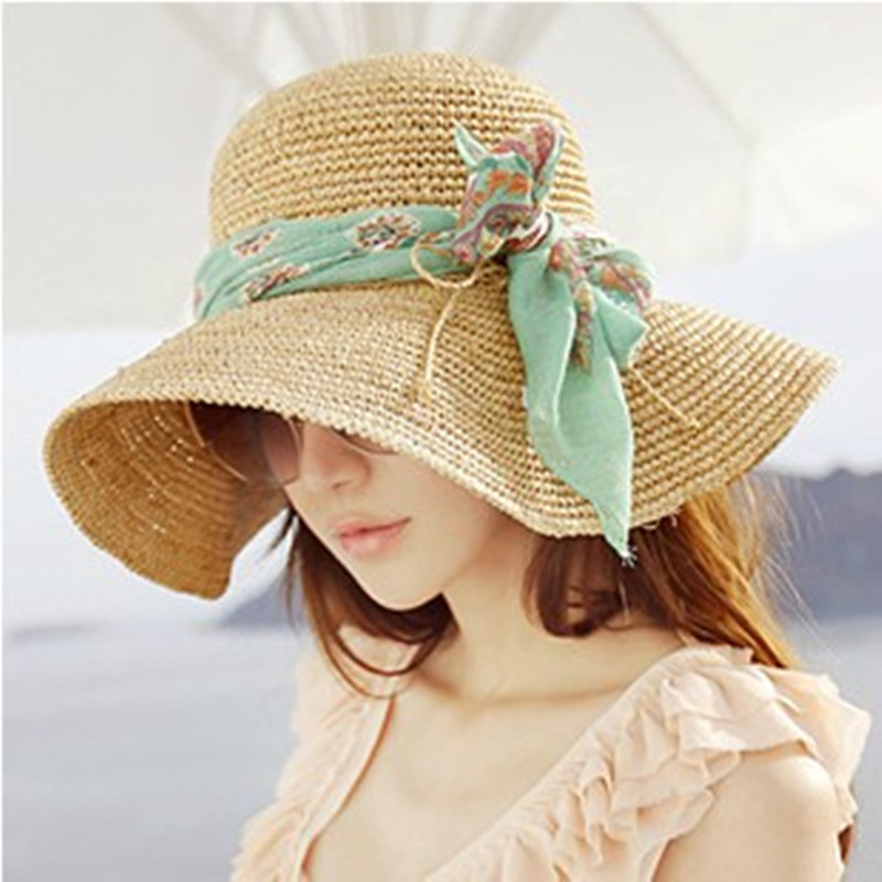 [해외]Bowknot large brim Lafite straw hat Sweet fresh Bea..