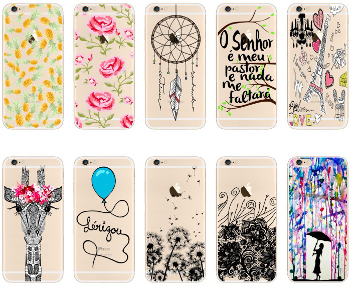 Beautiful Flowers Pineapple Giraffe Balloon Tower Design Transparent TPU Case Cover For iPhone 5 5s SE Fashion Cell Phone Cases(China (Mainland))