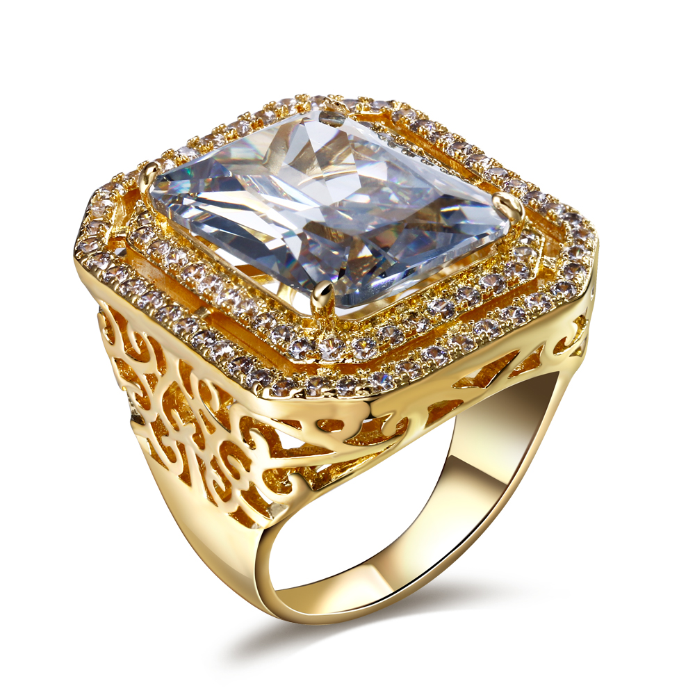 Woman rings a square stone big real gold and platinum plate square shaped rings micro setting with high quality cubic zirconia(China (Mainland))