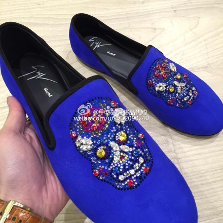 2015 new arrivals men women fashion zanotty blue black face diamond flat loafers shoes rhinestone guiseppe with box dust bag(China (Mainland))