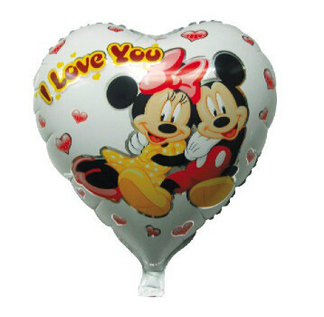 White Background Heart Shape Minnie Mickey Mouse Foil Balloons with I love You Letters(China (Mainland))