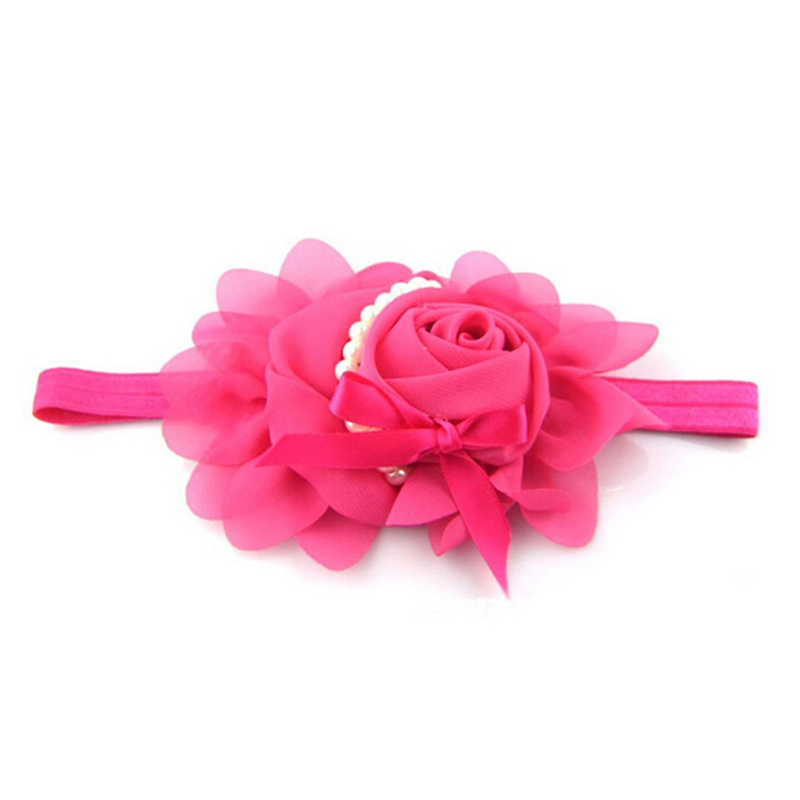 2015 Flower Elastic Baby Girl Chiffon Headwear Cute Designer Rose Pearl Lace Headband Hair Accessories For Babies(China (Mainland))