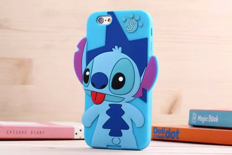 30pcs/lot For iphone 6 plus 3D Cartoon cases cute Mickey Minnie stitch Soft silicone Skin  cell phones case cover  Free DHL
