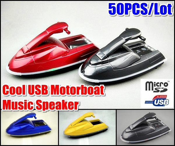 50pcs Bestselling Super Cool USB Motorboat Ship Model Music Speaker Support USB SD TF FM MP3 For MP3 Player Cell Phone Tablet PC(China (Mainland))