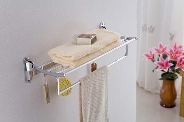 Фотография Free shipping Stainless steel folding double layer towel rack shelf with 8 hooks,KF168