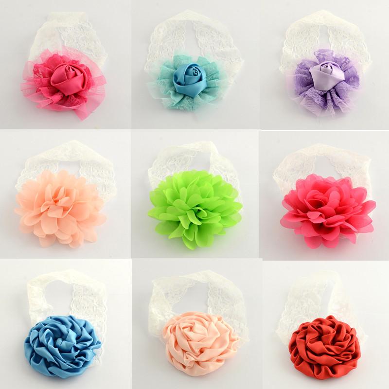 Fashion Rose girls Big Flower lace Headband Hair Band Baby Children Head Wrap Headwear Band hair Accessorie free shipping(China (Mainland))