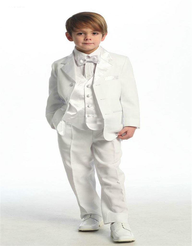 new wedding suit boy kid white grooms tuxedos shawl lapel boys mens suits two piece groomsmen slim fit two button kids blazer(China (Mainland))