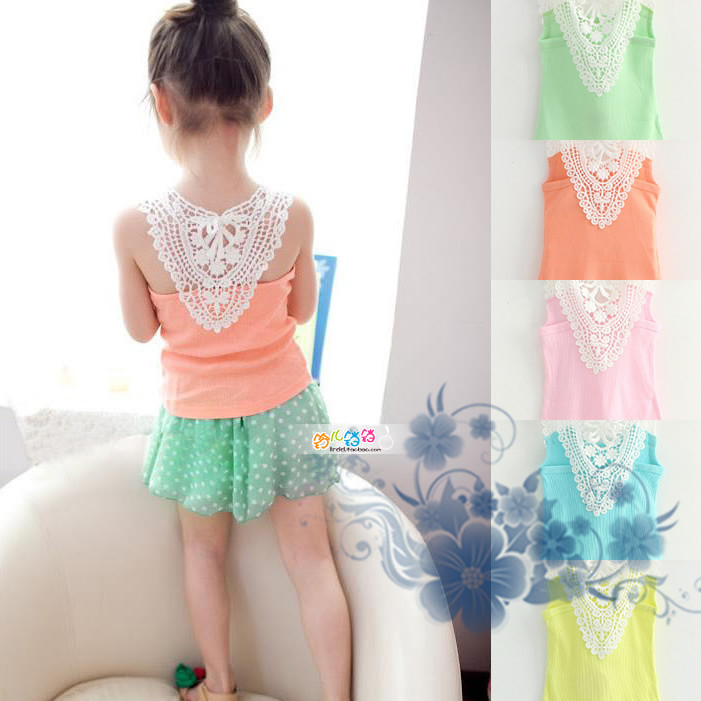 2015 Hot sale Kids Girls Crochet Hollow Out Floral Tops T Shirts Vest T shirts Candy