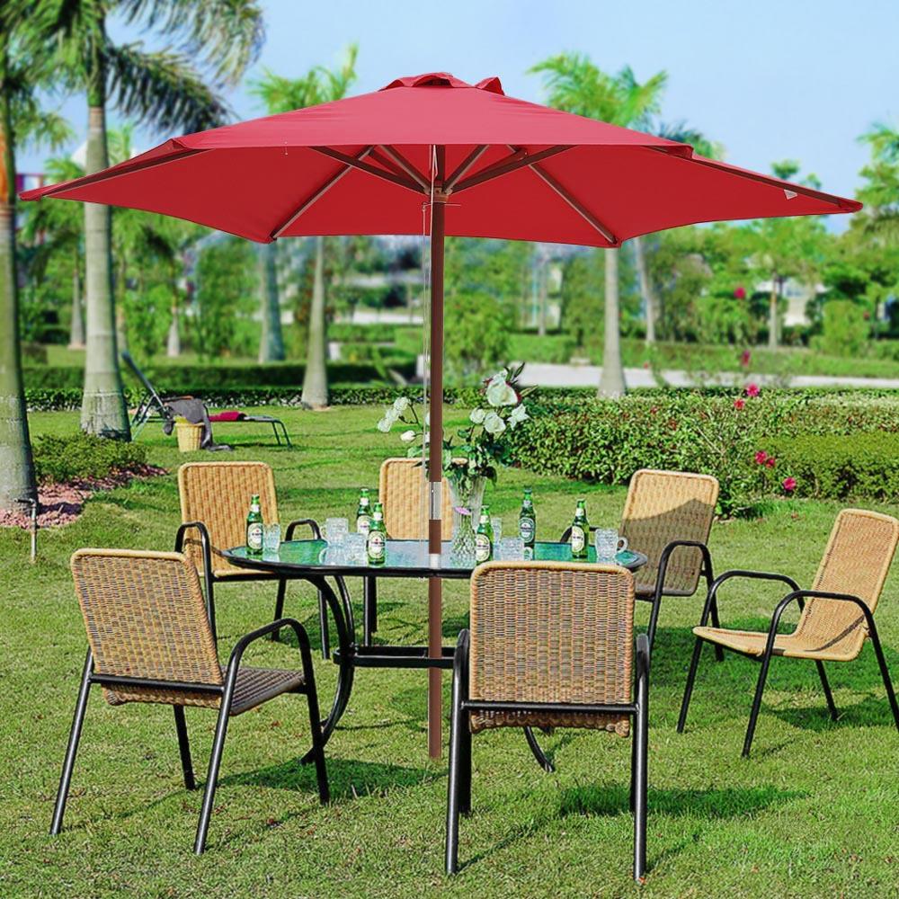 8ft wooden umbrella wood pole outdoor garden yard patio for 8 ft garden pool