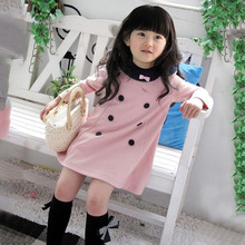 Girls Kids Apparel Dress Top Dresses Long Sleeve 2-7 Y Baby Party 1-Piece Clothes New Arrival
