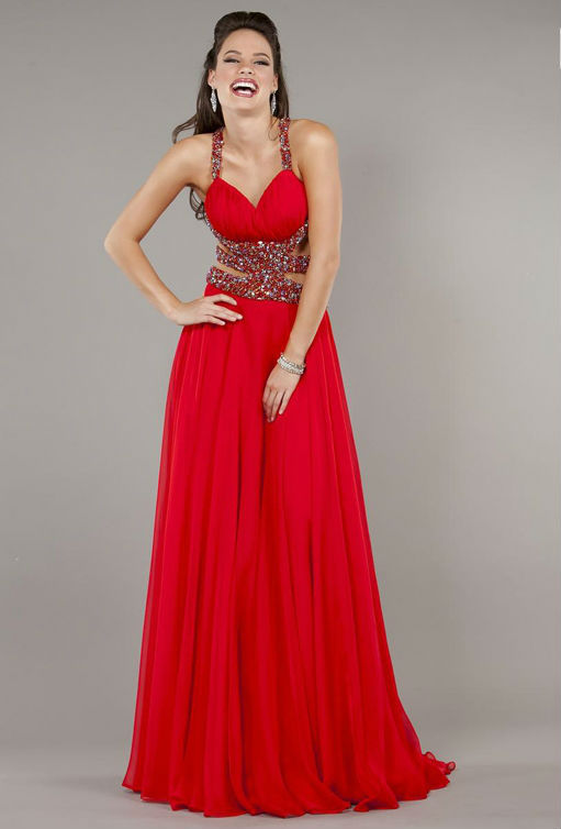 Free shippingFashion Mermaid Halter Sequin Belt Backless Red Chiffon Evening party Custom made Plus Size and Color Prom Dress Fr(China (Mainland))
