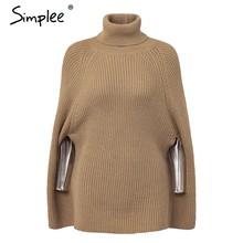 Женская водолазка Simplee, плащ, вязаный свитер, Осень-зима 2019, женский повседневный верблюжий пуловер, женская однотонная уличная одежда больш...(China)