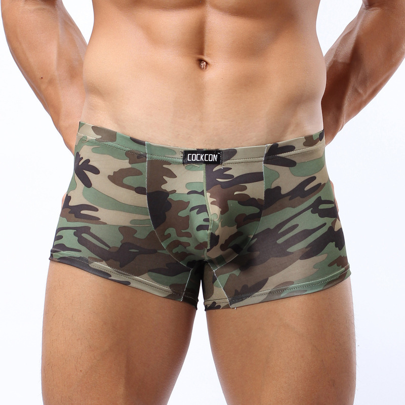 COCKCON New Underwear men boxers cueca shorts men sexy mens underpants male boxer camouflage underwear silk