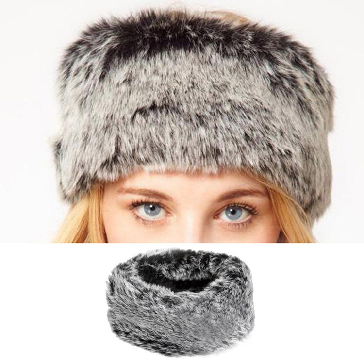 2016 Fashion Euramerican Fake Fur Headband Turtleneck Fake Fur Plush Head Hair Bands Drop Shipping(China (Mainland))