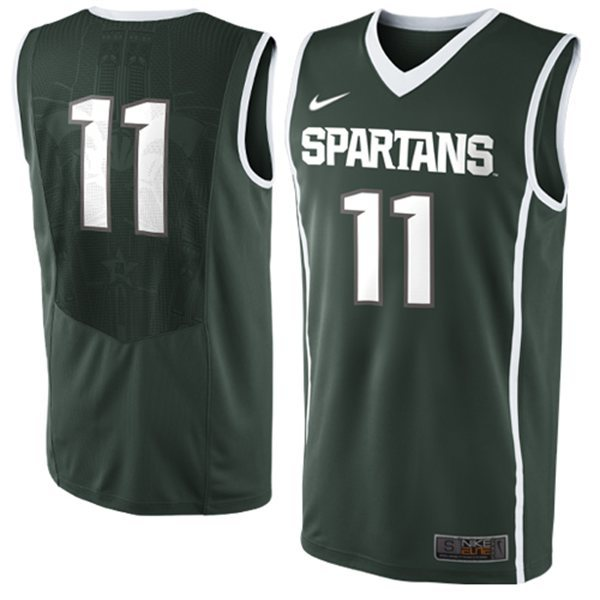 New Arrival Nike Michigan Stata Spartans Keith Appling 11 NCAA Authentic T-shirt Jerseys Keith Appling 11 Luke Hancock 11 Isi(China (Mainland))