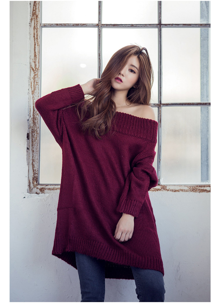 2015 High Quality Loose Plus Size Casual Sexy Slash Neck Off Should Long Sleeve Long Knitted Pullovers Big Sweaters Women Red(China (Mainland))