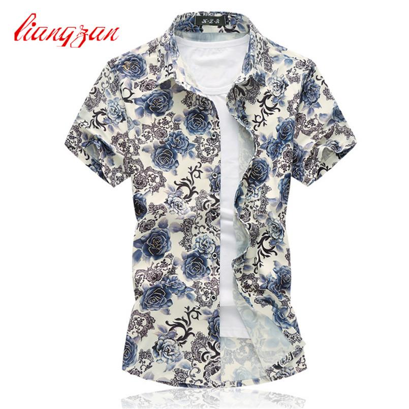 Men Summer Mercerized Cotton Dress Shirt Slim Fit Short Sleeve 6XL 7XLCasual Camisetas Masculinas Floral Social Shirts F2121(China (Mainland))