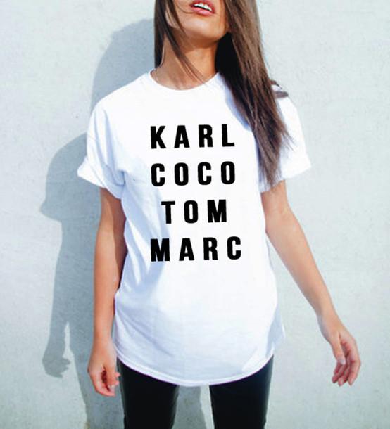 Plus size Women Black White karl coco tom marc American T shirt Woman Tee Fashion Tops Street Hippie Punk Womens Tshirt(China (Mainland))