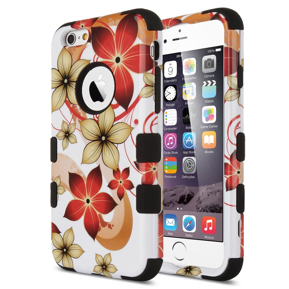 ULAK 3in1 Hybrid Case for Apple iPhone 6 4.7 inch with High Impact Hard PC and Soft Silicone Inner Flower Pattern Cover(China (Mainland))