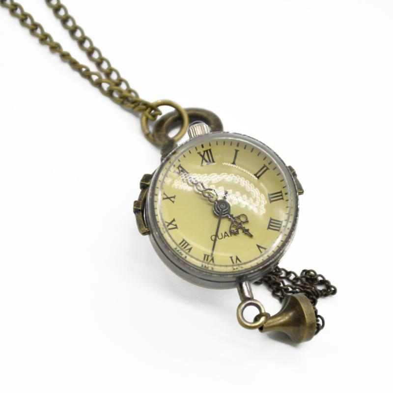 Vintage copper color Roman numbers ball shape pocket watch Quartz Watch Pendant with Chain Unisex Gift(China (Mainland))