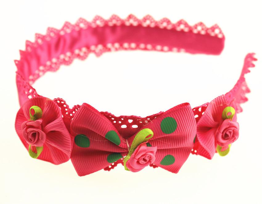 Hot selling Koreaean-style fashion flower headwear handmade princess headpiece pink red hairbands girls children hairpin(China (Mainland))