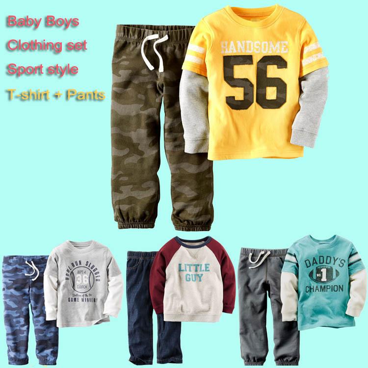 2016 baby boy 3t clothing set kids cotton t-shirt + pants autumn winter toddler sport costume boys pants sport clothes(China (Mainland))