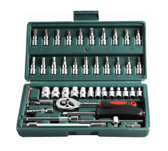 """Promoção! 46 pc chave de caixa Set 1/4 """" ferramenta de reparo do carro ferramentas manuais combinação Ratchet Wrench Set Cr - v Bit Set Tool Kit(China (Mainland))"""