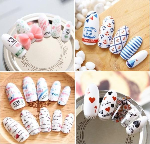 1 Sheet 2015 Beauty Letter Bow Water Transfer Sticker Nail Art Decals Nails Wraps Temporary Tattoos Watermark Nail Tools(China (Mainland))