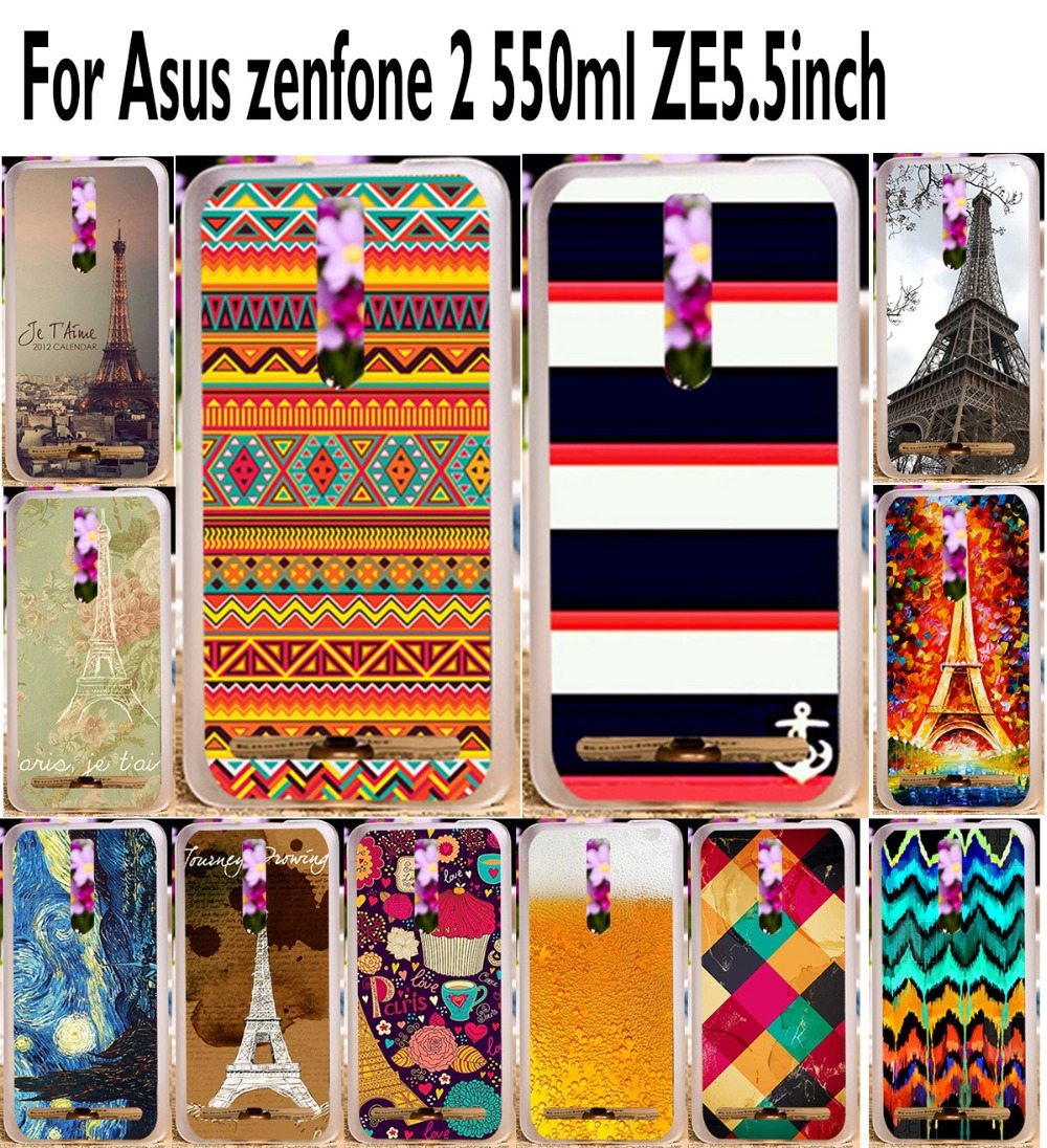 DIY Painted Eiffel Tower Colorful mobile phone case hard Back cover Skin Shell For Asus Zenfone