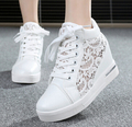6cm High Fashion cutouts lace white canvas shoes hollow floral print breathable platform women casual mesh