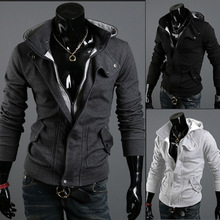 2016 explosion men hooded cardigan fleece and a male hooded cardigan sweatershirts brushed false 2 male