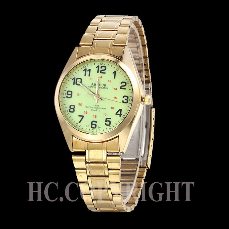 Hot Sale Stainless Steel Band Fluorescent Case Leisure Classic Style Watch Waterproof Men Business Wristwatch(China (Mainland))