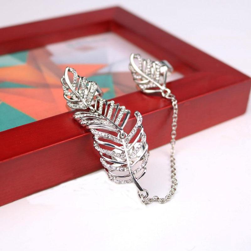 2Pcs/lot Fashion Punk Rhinestone Crystal Chain Tassels Leaves Hollow Three Finger Rings #83210(China (Mainland))
