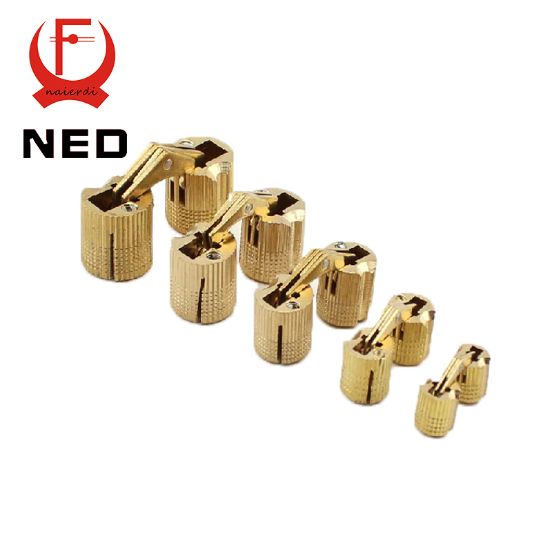 NED 4PCS 8mm Copper Barrel Hinges Cylindrical Hidden Cabinet Concealed Invisible Brass Hinges Mount Furniture Hardware(China (Mainland))