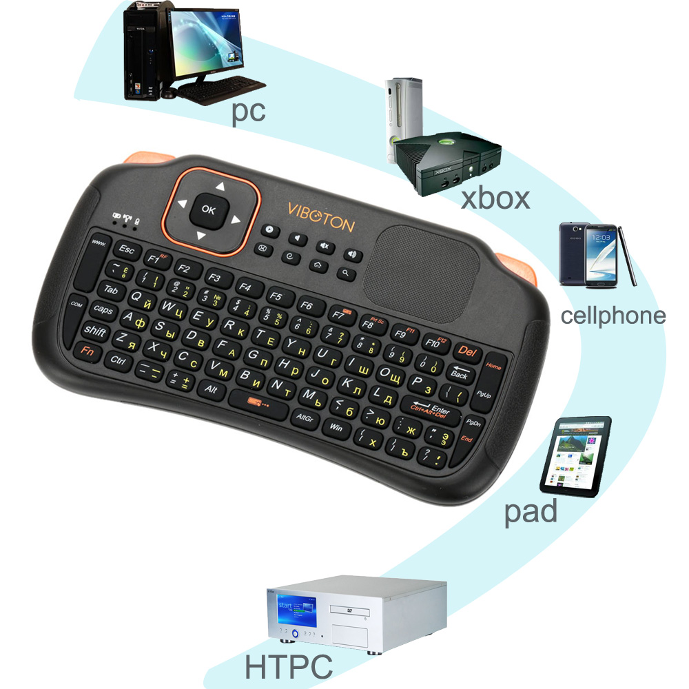 VIBOTON Russian Version Wireless Keyboard 2.4G Rechargeable Mini Keyboard USB Touchpad Air Mouse Remote Control for Computer(China (Mainland))