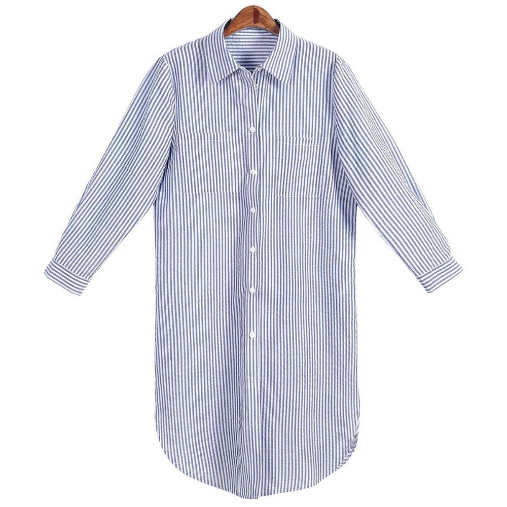 Long Sleeve Knee Length Shirt Dress White Blue Striped
