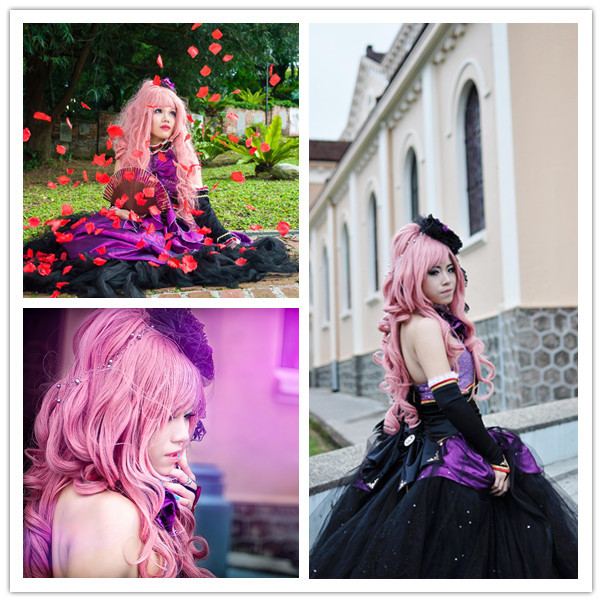 Vocaloid Megurine Luka Pink Long Girls Anime Cosplay Wig &amp; Curly Ponytail<br><br>Aliexpress