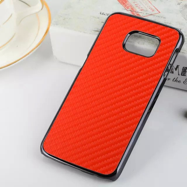 Luxury Carbon Fiber PU Leather PC Skin Chromed Metallic Frame Hard Back Phone cover Case samsung Galaxy S6 Edge - Xinghai store