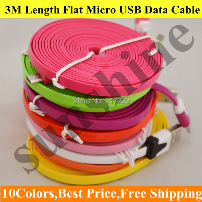 New 10ft Long Noodle Micro USB 2.0 Data Sync Cables Charger Cords 3M For Samsung Galaxy S3 S4 Android Phones 10 Colors Available(China (Mainland))